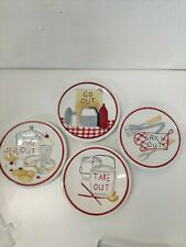 """New listing MWW Market """"Take Out, Pig Out, Grill Out, Go Out"""" Mini Plates Set of 4 4.5"""""""