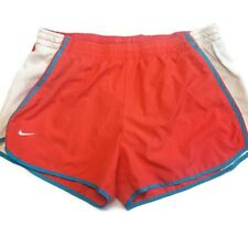 Nike Dri Fit Active Running Shorts Stretch Waist Lined Coral Pink Blue White L
