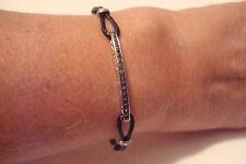 Charriol 18K White Gold Black Diamond Celtic Noir Bangle Bracelet