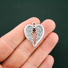 6 Angel Wing Heart Charms Antique Silver Tone - SC6133