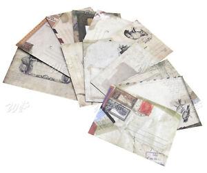 12x raftpapier Mini Briefumschläge im Vintage Look Geschenk Hochzeit Satz