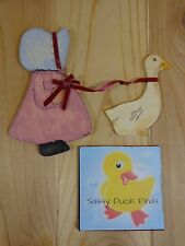 WOOD CRAFT PIECES Lot of 2 Hand Painted Detailed COUNTRY GIRL WITH GOOSE