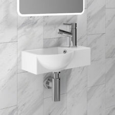 400mm Curved Bathroom Toilet Basin Sink Wall Hung Countertop Ceramic 1 Tap Hole
