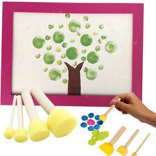 4X Craft Sponge Paint Brush Wooden Handle Painting Kids Toys Art Supplies HOT