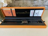 NIB Stuhrling Original Uptown Ozzie XL Men's Watch Black Colored Dial