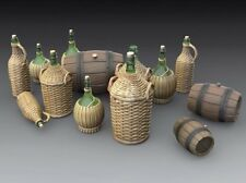 Royal Model 1/35 Various Wine Wicker Bottles Fiasco Demijohn Glass & Barrels 786
