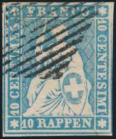 SCHWEIZ 1855, MiNr. 14 II A zm, sauber gestempelt, Attest Hermann, Mi. 900,-
