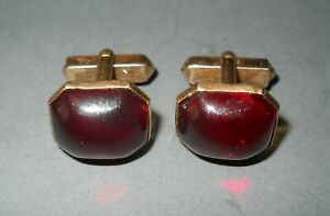 Vintage Swank Cufflinks Gold Color Ruby Red Color Stones