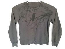 Infamous black crow logo shirt, gray long sleeve T-Shirt size XL