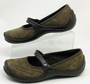 Crocs Wrapped Mary Jane Women's Suede Brown Slip On Wedge Shoes Size 8 NEW