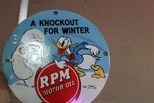 RPM MOTOR OIL DONALD DUCK SNOWMAN PORCELAIN METAL SIGN WINTER GAS OIL SERVICE 66