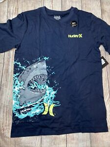 Hurley Youth Large (12-13) or XL (13-15) Shark Navy Blue Tee Shirt NEW