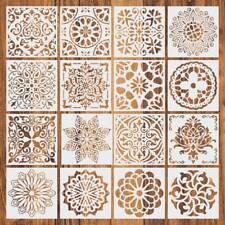 16pcs Set Reusable Stencil Cut Mandala Painting Template Floor Wall Tile Paint