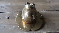 Vintage Brass Frog On Lilly Pad Home Decor
