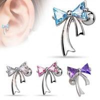 Silver Plated CZ Ribbon Cartilage Tragus Bar Ear Ring Studs Piercing Stud