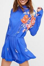 """NWT Free People Gemma Floral Printed Open Back Tunic Sz. Large """"Blue"""""""