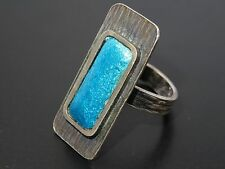 VINTAGE 50's MODERNIST ARTISAN GUILLOCHE ENAMEL TOP STERLING RING sz ~ 6,75