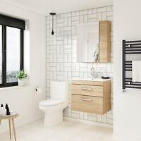 Athena Natural Oak Bathroom Furniture Vanity Cabinet Basin, Mirrors, Bath Panels