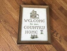 Welcome to Our Country Home Framed Cross Stitch Art Frame Picture measures 11x14