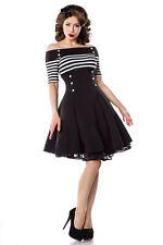 Belsira 50006 Vintage-kleid Größe 3xl Schwarz/weiß/stripe