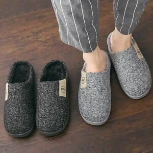 Pair Men Winter Warm Slippers Fur Slippers Boys Plush Shoes Non-slip Solid Color