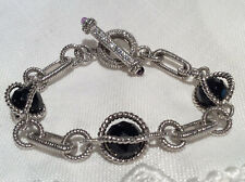 Judith Ripka 925 Silver Black Onyx Toggle Bracelet w/ Amethyst End Caps 7.25 in.