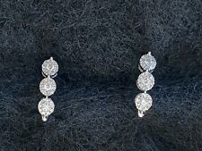 14K white gold diamond cluster earrings - Slightly used