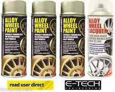 3 x E-Tech Gold Wheel Paint and 1 x Clear Lacquer Car Alloy Wheel Spray Paint