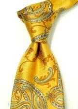 Mint Daniel de Fasson 6-Fold Gold w/ Woven Gold & Blue Paisley Silk Neck Tie