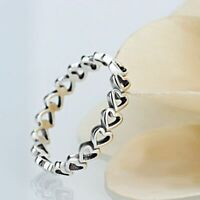 Women's Ring Fashion Authentic Plated Silver Forever Love Heart Finger