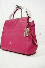 Coach 36464 Edie Shoulder Bag 31 In Refined Pebble Leather in Light Gold/Cerise
