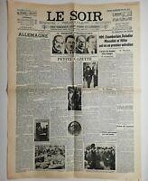 N606 La Une Du Journal Le Soir 30 septembre 1938 chamberlain, daladier, Mussolin