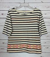 J.Crew Women's Sz Small Navy Striped Embroidered Cute Fall Top Shirt Tee $98