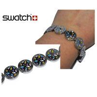 SWATCH Bracelet en acier inoxydable argenté cercle émail multicolore 18cm bijou
