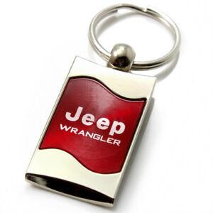 Premium Chrome Spun Wave Red Jeep Wrangler Genuine Logo Key Chain Fob Ring