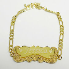 18K Yellow Gold Plated Personalized  I.D. Name  Bracelet  Mens Leady