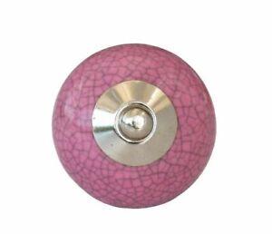 Möbelknauf craquele ROSA runder Griff Keramik