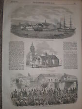 Launch HMS Phoebe Devonport & 8th Hussars Plymouth Railway 1854 old print