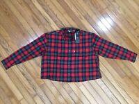 NWT Levis Women's Red / Black Plaid Button Down Shirt Blouse Top Sz XS  MSRP $54