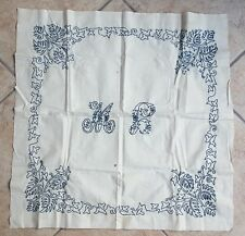 Pair of 2 Antique Embroidered Pillow Case Covers Lay Over Sham + 1 1920s Cover