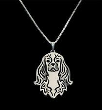 Cavalier King Charles Dog Canine Collection Silver Tone Metal Pendant Necklace