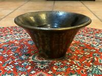 TRASH CAN POTTERY BROWN METALLIC GLAZE BOWL HANDTURNED STUDIO ART NANCY ALLEY EU