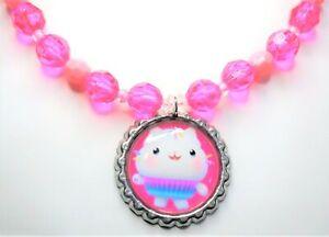 Gabby's Dollhouse CAKEY CAT Necklace Beaded Stretchy Bottlecap Gabbys