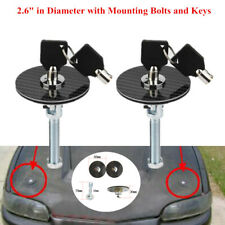 Car Truck Carbon Fiber Racing Mount Bonnet Hood Pins Latch Key Lock Part w/Bolts