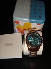 FOSSIL BQ1749 Rose Gold Tone Stainless Steel Watch Teal Green Dial CHRONOGRAPH