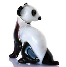 "Panda Blown Glass Sculpture, ""Murano"" Art, Home Decor White Animal Figurine"