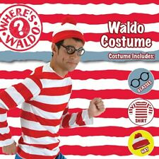 Mens Where's Wally Wheres Waldo Costume Shirt Hat Glasses Book Week Stag Party