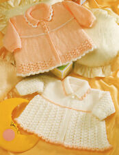 """Baby Matinee Coat with Collar ~ Lace /Contrast Edge  12 - 20 """" Prem DK To Knit"""