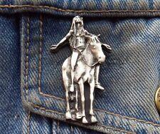 Indian Prayer on Horse Pewter Pin Badge
