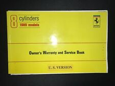 FERRARI 8 CYLINDER 1989 MONDIAL OWNERS WARRANTY AND SERVICE BOOK